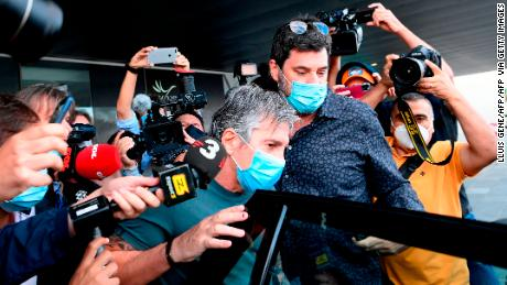 Jorge Messi arrives at his apartment in Barcelona.