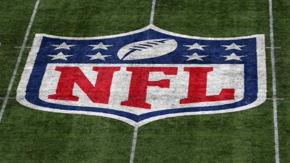 LONDON, ENGLAND - OCTOBER 13: A detailed view of the NFL logo on the field during the NFL game between Carolina Panthers and Tampa Bay Buccaneers at Tottenham Hotspur Stadium on October 13, 2019 in London, England. (Photo by Naomi Baker/Getty Images)