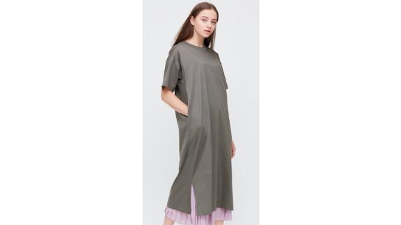 Women Mercerized Cotton Short-Sleeve Long Dress