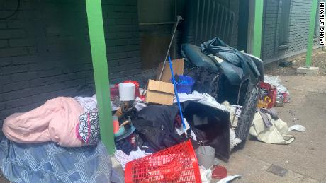 Belongings are piled outside an apartment in Houston. When the eviction takes place, everything gets put out and if unclaimed, it's all thrown away.