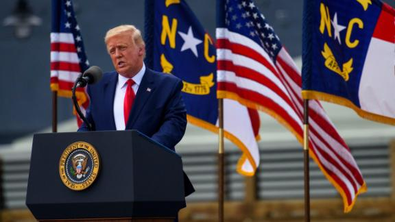 President Donald Trump speaks to a small crowd outside the USS North Carolina on September 2, 2020 in Wilmington, North Carolina.