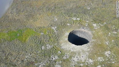 An aerial view of the newest crater that appeared this year. It's one of the largest that has appeared so far. In August 2020, the RAS Institute of Oil and Gas Problems, supported by the local Yamal authorities, conducted a major expedition to the new crater. Skoltech researchers were part of the final stages of that expedition. Credit: Evgeny Chuvilin