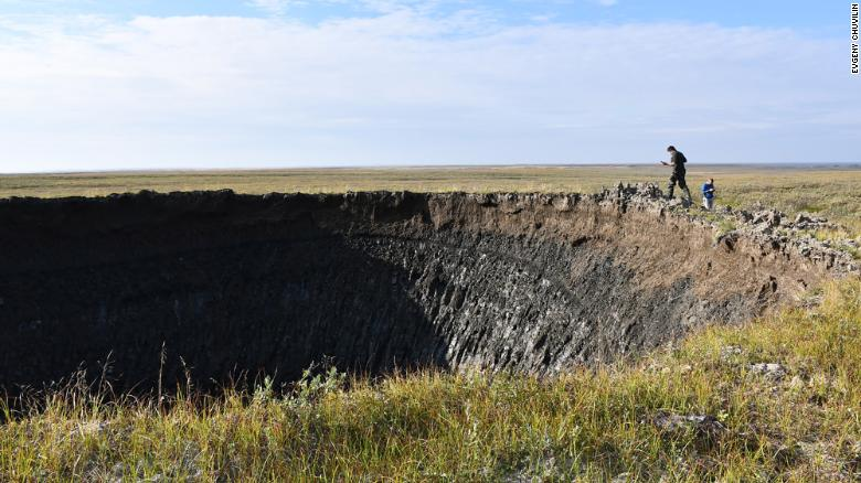 In August 2020, the RAS Institute of Oil and Gas Problems, supported by the local Yamal authorities, conducted a major expedition to the new crater. Skoltech researchers were part of the final stages of that expedition.Credit: Evgeny Chuvilin