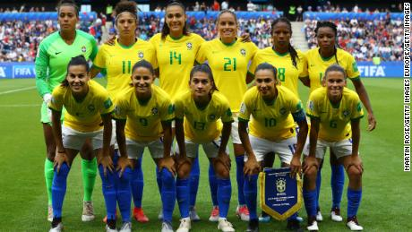 Brazil pose for a team photograph prior to the 2019 Women's World Cup.