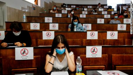 Socially distanced students take an aptitude test for the University of Medicine in Rome, Italy, on September 3.