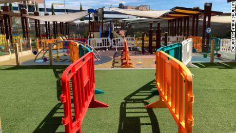 Playgrounds have dividers to keep children in their safety bubbles.