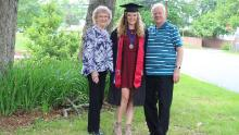 Gallagher with her grandparents, Eleanor and Donald Gallagher, at her graduation from the University of Maryland in 2017. They had been with her for many important occasions.