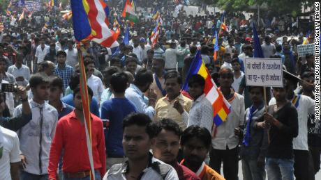 Dalits protest a Supreme Court order affecting their rights on April 2, 2018, in Agra, India.