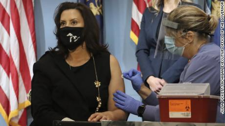 Michigan Gov. Gretchen Whitmer received her flu vaccination on live television Tuesday, August 25, 2020.