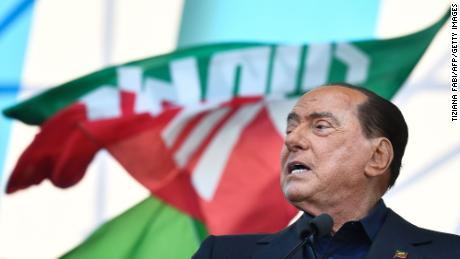Former Prime Minister Silvio Berlusconi speaks at a rally in Rome on October 2019.
