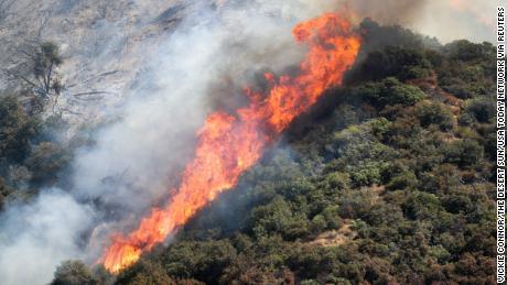The El Dorado Fire burns in the San Bernardino National Forest near Oak Glen, California, on Sunday, September 6, 2020.