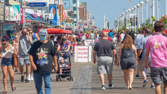 Masks are required on the boardwalk in Ocean City, Maryland, during Labor Day weekend.