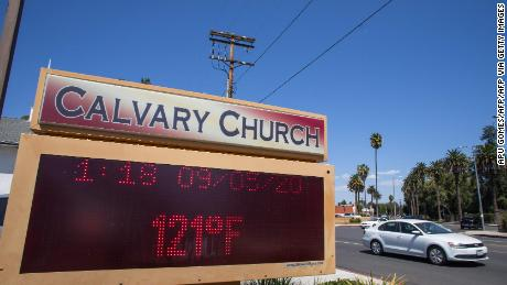 The thermometer registered a record of 121 degrees Fahrenheit in Woodland Hills, California.