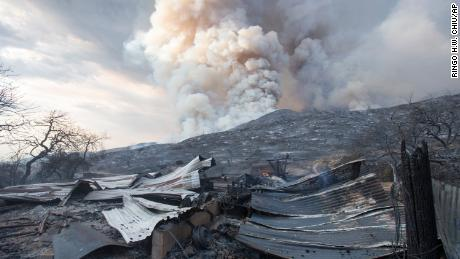 A burnt structure is seen in a wildfire in Yucaipa, California after a couple's plan to reveal their baby's gender at a party went up in smoke at El Rancho Dorado Park in Yucaipa on Saturday when one of them was used pyrotechnic device a devastating wildfire sparked thousands of acres.