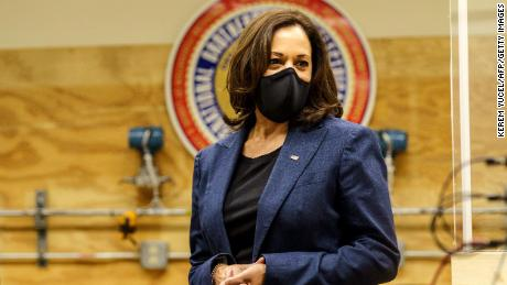 Democratic vice presidential nominee Kamala Harris tours an International Brotherhood of Electrical Workers (IBEW) training facility on September 7, 2020 in Milwaukee, Wisconsin. - Harris will visit on September 7, 2020 an International Brotherhood of Electrical Workers (IBEW) Training Facility and speak with IBEW members and Wisconsin labor leadership. (Photo by Kerem Yucel / AFP) (Photo by KEREM YUCEL/AFP via Getty Images)
