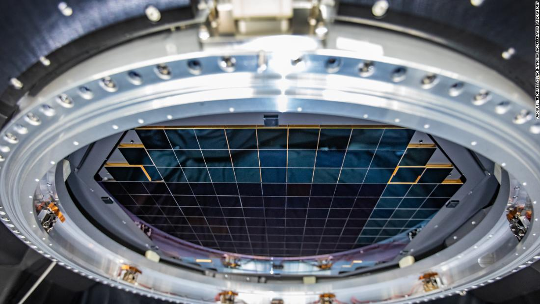The complete focal plane of the future LSST camera is more than 2 feet wide and contains 189 individual sensors that will produce 3,200-megapixel images.