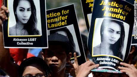 On February 23, 2015, supporters of the late Jennifer Loud maintained her image during protests near a Philippine court in Olongapo, north of Manila.