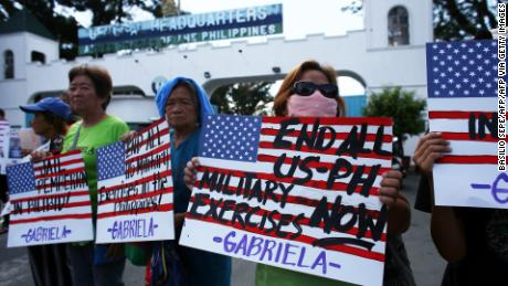 The protesters held placards during a protest in front of the Department of National Defense in Manila on 21 February 2020.  Members of the Gabriella Alliance for Women called for the immediate transfer of US Marine Joseph Scott Pemberton to the National Bilibid Prison.