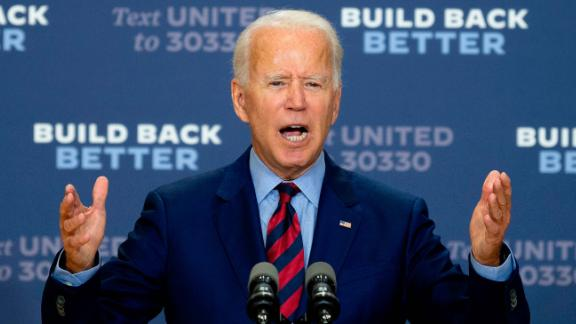 Democratic presidential candidate and former US Vice President Joe Biden speaks on the state of the US economy on September 4, 2020, in Wilmington, Delaware. (Photo by JIM WATSON / AFP) (Photo by JIM WATSON/AFP via Getty Images)
