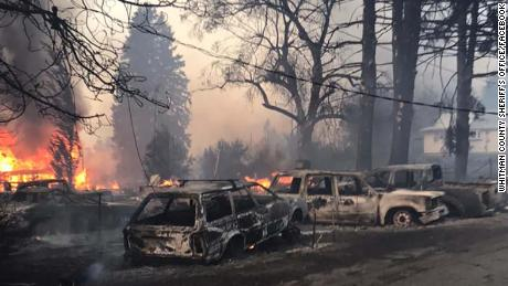 A fire destroyed 80% of Malden, Washington, the Whitman County Sheriff's Office, which posted this photo, reported.