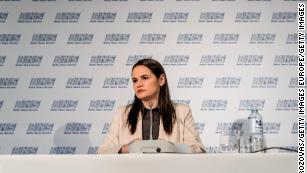 Exiled opposition politician Svetlana Tikhanovskaya makes her first public appearance in Vilnius, Lithuania in August 2020 after fleeing Belarus.