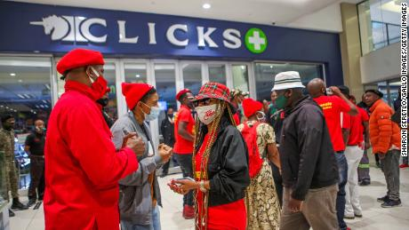 Members of the Economic Freedom Fighters (EFF) at Sandton City Mall during the protests calling for the shutdown of all Clicks outlets in South Africa