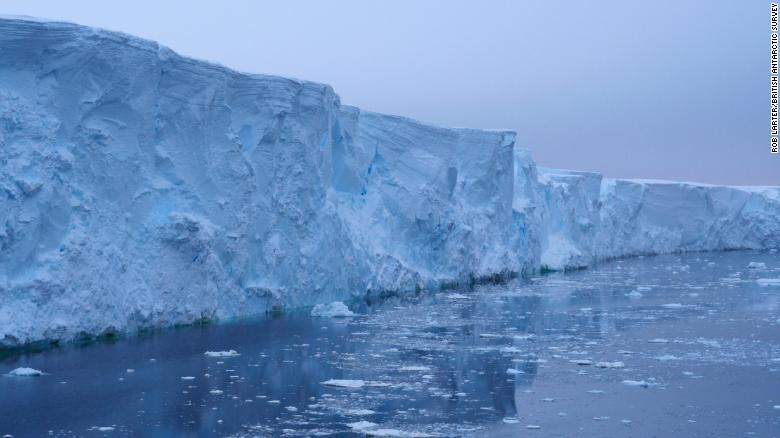 The high cliffs at the ice front of Thwaites Glacier, which accounts for about 4% of global sea-level rise.