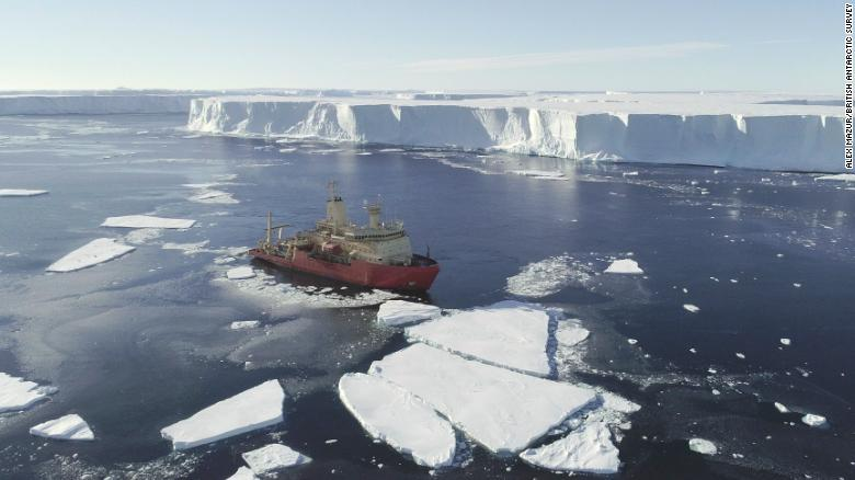 The US research ship at the ice front, in a photo captured from a drone.