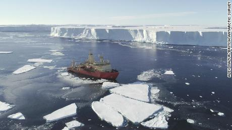 The US research ship on the ice front, in a photo taken by a drone.
