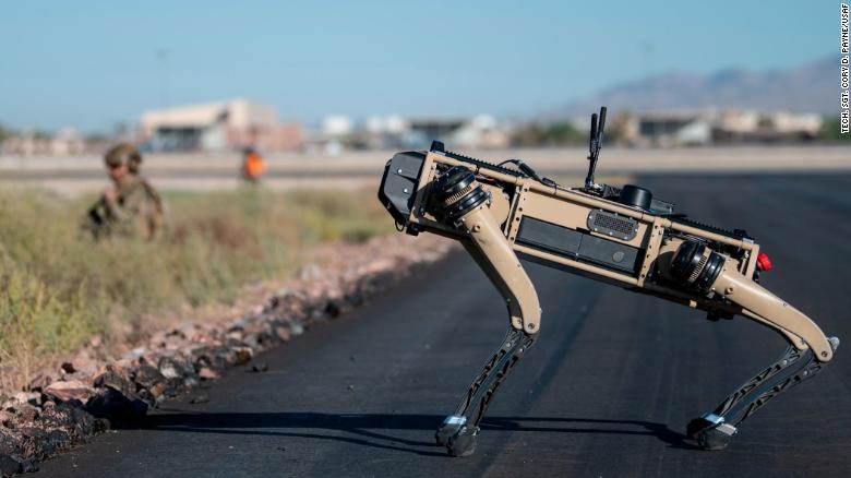 A Ghost Robotics Vision 60 prototype operates at Nellis Air Force Base, Nevada, on September 3.