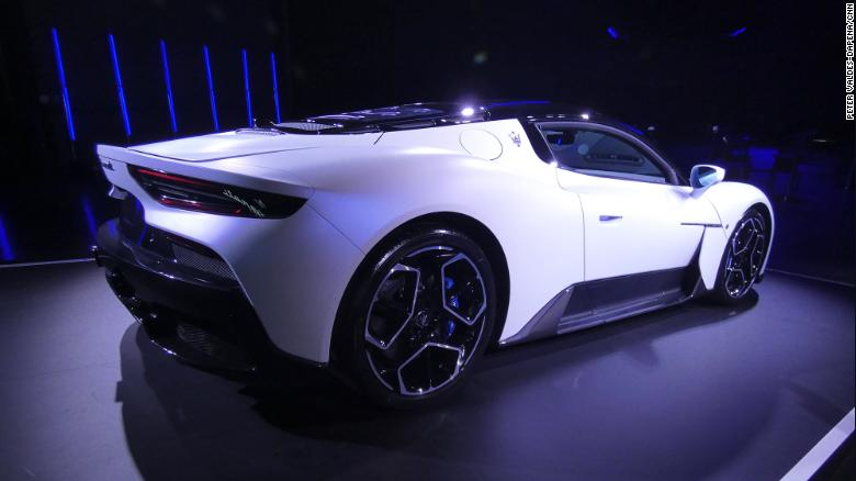 The Maserati MC20 has no obvious rear wing, but a slight rise at the back of the car helps keep it pinned to the road.