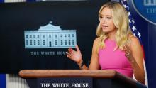 White House Press Secretary Kayleigh McEnany speaks during a briefing in the Brady Briefing Room of the White House in Washington, DC on September 9, 2020.
