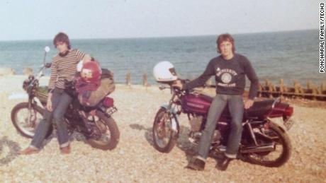 Poncharal on the UK's Brighton Beach in 1977, with his brother, Olivier