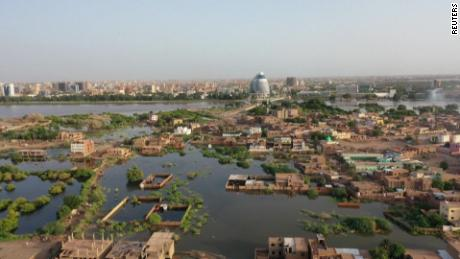Drone footage shows Sudan inundated by water