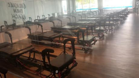 A row of Pilates-related exercise machines is pictured at an SLT fitness studio location in Southampton, New York studio on September 8, 2020.