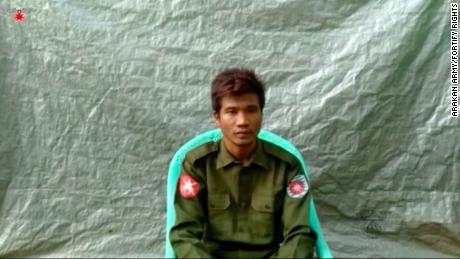 A still image of a video filmed by the Arakan Army in July with Myanmar Private Zaw Naing Tun.