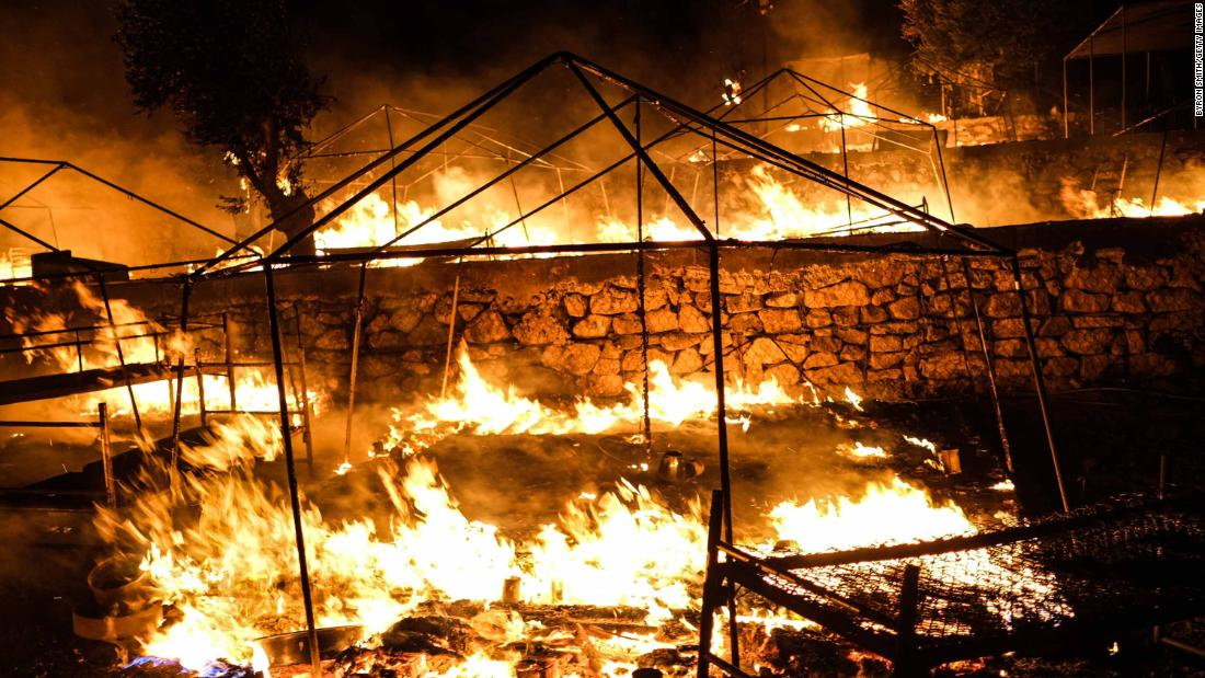 Fires continue to blaze for a second night Wednesday in the Moria migrant camp.