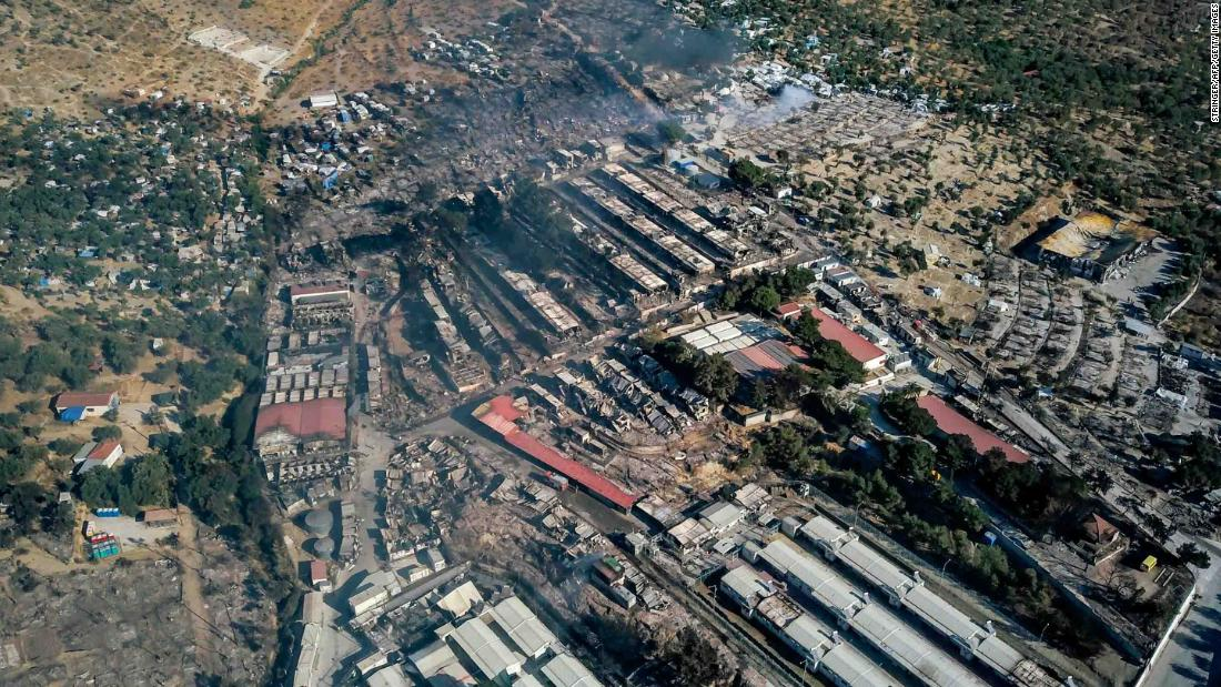 This aerial view, taken on Thursday, shows the extent of fire damage at the Moria camp.