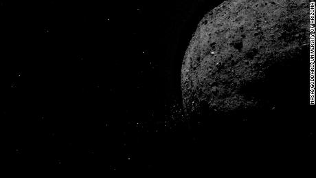 This image shows the asteroid Bennu ejecting rock particles from its surface on January 19, 2019.