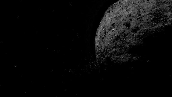 This image shows asteroid Bennu ejecting rock particles from its surface on Jan. 19, 2019. It was created by combining two images taken by the OSIRIS-REx spacecraft.