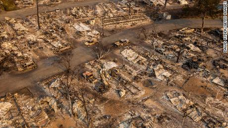 In this aerial view from a drone, a mobile home park destroyed by fire is shown on September 10, 2020 in Phoenix, Oregon. Hundreds of homes in the town have been lost due to wildfire.