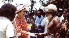Queen Elizabeth II visiting the Solomon Isles in 1982.