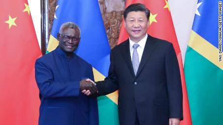 Chinese President Xi Jinping meets with Solomon Islands' Prime Minister Manasseh Sogavare at the Diaoyutai State Guesthouse in Beijing, on October 9, 2019.