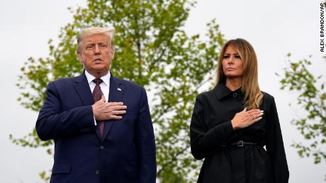 President Donald Trump and First Lady Melania Trump during the Pledge of Allegiance at the Flight 93 National Memorial in Shanksville, Pa.