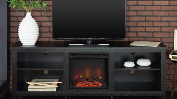 Beachcrest Home Sunbury TV Stand With Fireplace