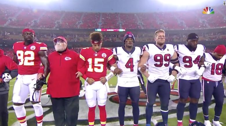 Kansas City Chiefs fans booed players during a moment of unity against racism