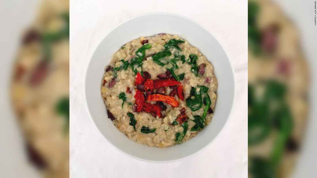 "Try a <a href=""http://www.lisadrayer.com/savory-oatmeal/"" target=""_blank"">savory oatmeal</a> with red lentils that features olives and sun-dried tomatoes for a flavorful kick. Great for lunch or dinner."