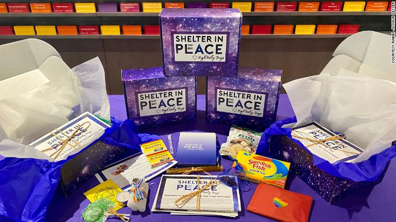 """Rabbi Joshua Lesser is distributing these """"Shelter in Peace"""" boxes to his congregation during the Jewish high holiday season, since they cannot gather in person this year."""