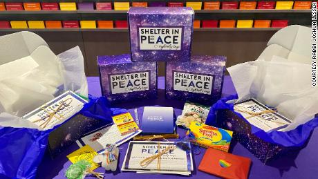 "Rabbi Joshua Lesser is distributing these ""Shelter in Peace"" boxes to his congregation during the Jewish high holiday season, since they cannot gather in person this year."