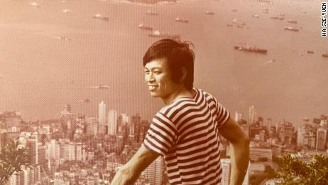 Ha Sze-yuen seen in 1975 above Hong Kong's Victoria Harbor, shortly after he escaped to the city from mainland China.